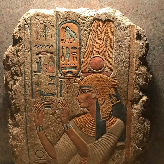 Egyptian art / sculpture - painted relief carving of Queen Nefertari. 19th dynasty. Wall feature.