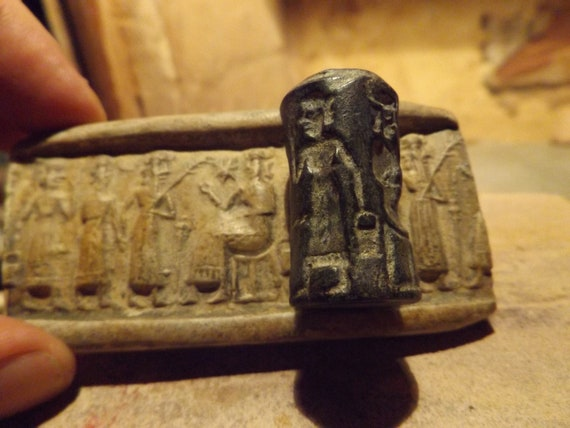 Sumerian / Akkadian Ishtar and Enlil cylinder seal and impression  harvest replica.