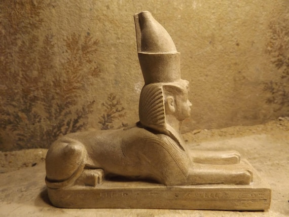 Egyptian statue /sculpture replica - Amenhotep III Sphinx wearing the double crown.