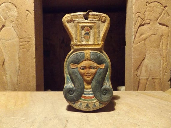 Egyptian art - Hathor / Het-Hur- Goddess of love and music. Hanging amulet. Sistrum form - spiral wig