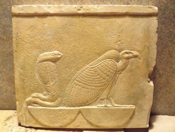 Egyptian art / mythology - relief sculpture of Nekhbet and Wadjet / Vulture and Cobra