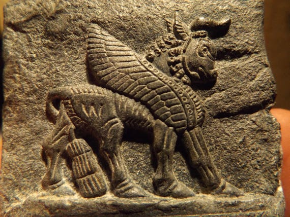 Mesopotamia / Assyrian art / mythology - Lamassu winged bull amulet replica