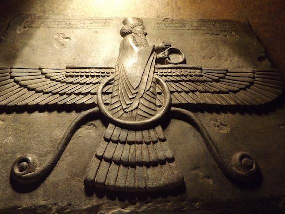 Ahuru Mazda -Persian Achaemenid wall art relief. Zoroastrian god of truth/justice