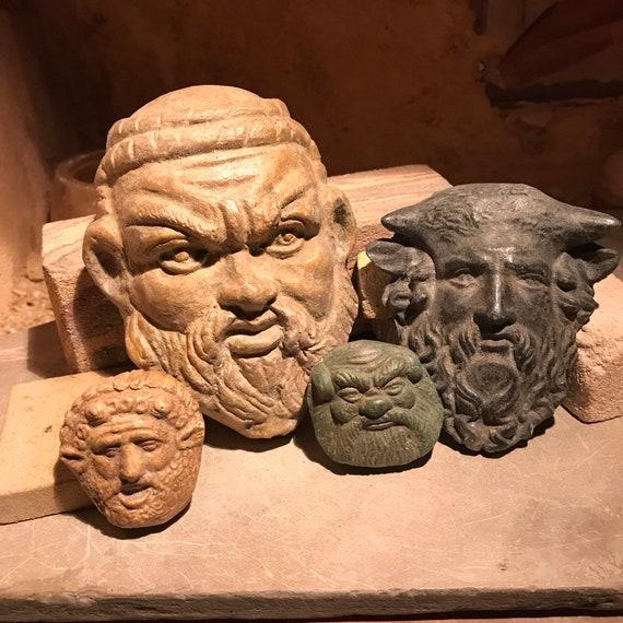 Satyr trio + Achelous - Etruscan / Greek / Sculpture Statue set - Museum replica