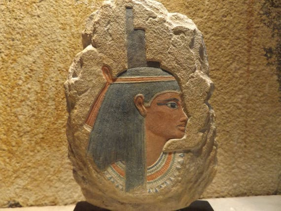 Egyptian art - Isis / Aset - Powerful goddess of magic, mothers, healing. Painted relief sculpture