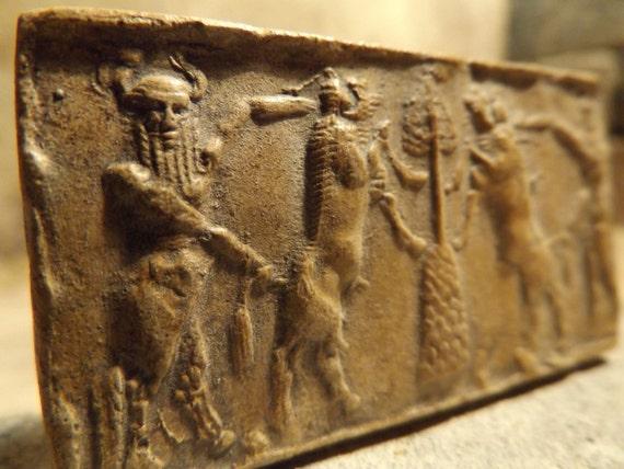 Gilgamesh & bull man Akkadian cylinder seal impression - Mesopotamian art / mythology