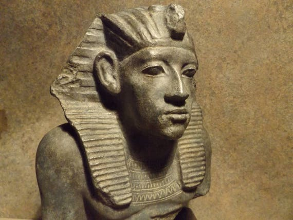 Egyptian statue / sculpture - replica bust fragment of Pharaoh Amenemhat III - Middle kingdom art - 12th dynasty
