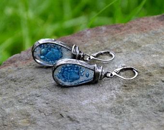 8fdbf53b732d Pendientes largos pendientes ornamentales gris gris de la gota gota ...