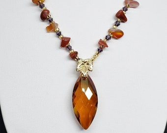 Carnelian Chip Necklace with Faceted Pendant