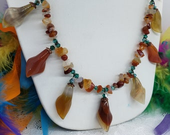 Carnelian Calla Lilly Drop Necklace with Carnelian Chips