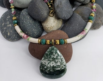 Tree Agate Pendant on Porcelain Tube and Beaded Necklace