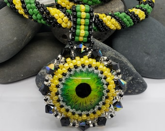 Green, Yellow and Black Woven Rope Necklace with Dragon Eye Pendant