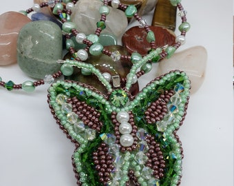 Emerald Green Butterfly Pendant and Necklace