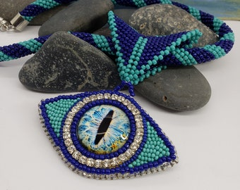 Blue and Teal Beaded Dragon Eye Pendant on Beaded Twist Rope Necklace
