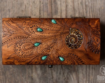 wooden box, jewelry box, engraved wooden box, custom box, keepsake box, vintage jewelry box, chest, ammonite, floral ornament, beautiful box