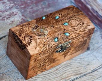 Wooden vintage jewelry box | custom keepsake box  with ammonite | engraved wooden box