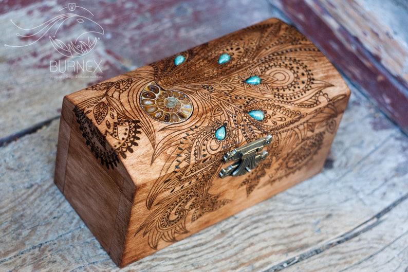 Wooden vintage jewelry box  custom keepsake box  with image 0