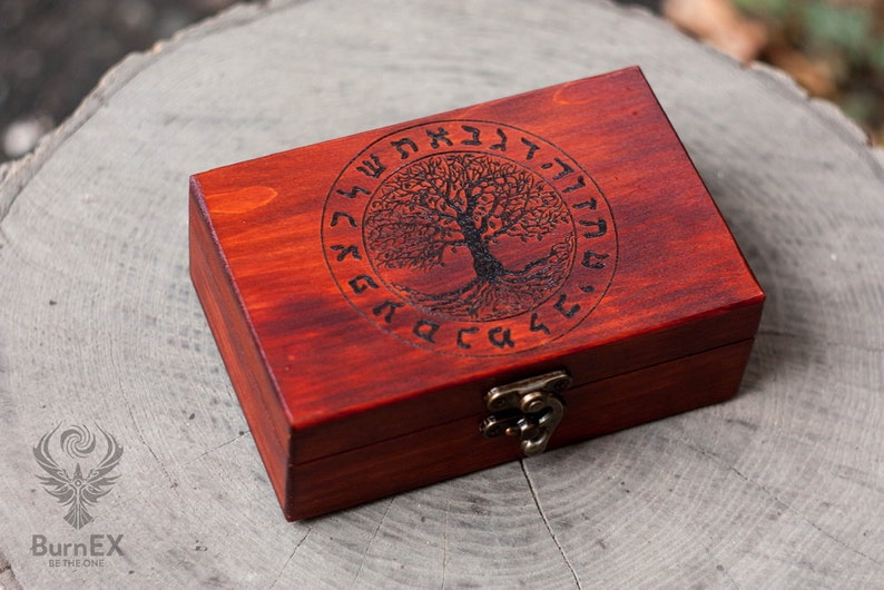 Wooden Tarot Box - engraved custom box, divination