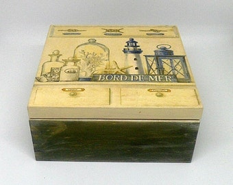 Vintage style wooden tea box , decoupage box , vintage marine theme