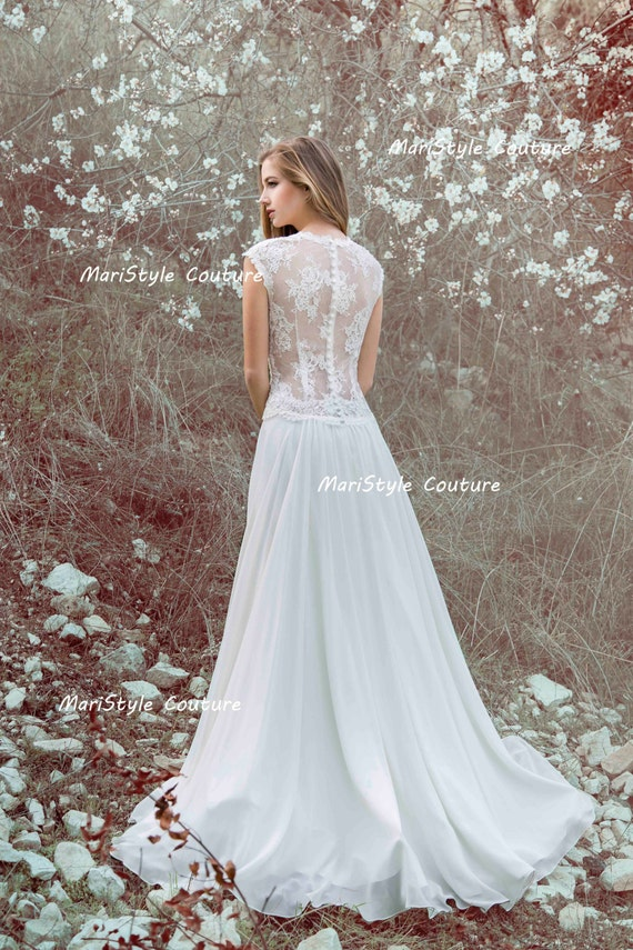 Designer Wedding Gown Bohemian Wedding Dress Lace Back Dress Etsy