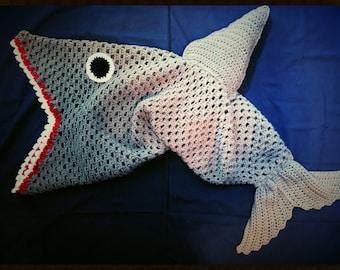 KidsCrochet cocoon shark blanket