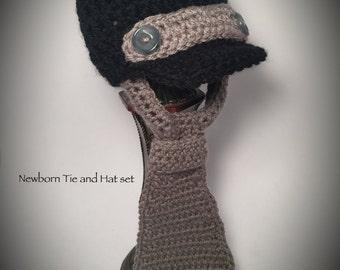 Newborn baby hat and tie  crochet set