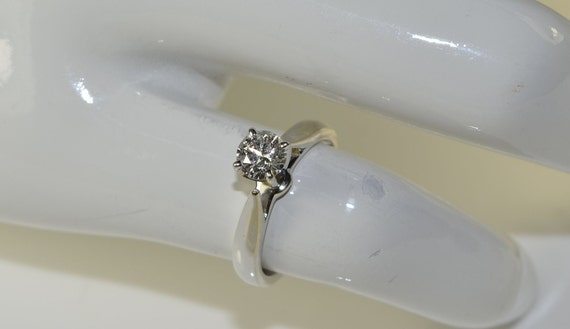 Solitaire Diamond Ring in 18k White Gold - image 1