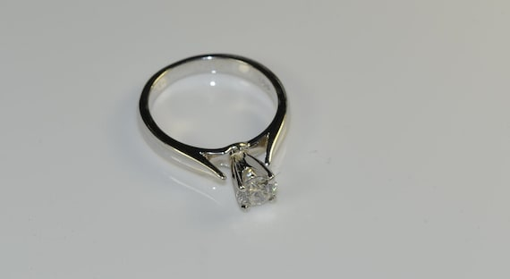 Solitaire Diamond Ring in 18k White Gold - image 5