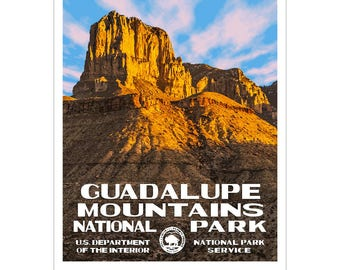 """Guadalupe Mountains National Park WPA style poster. 13"""" x 19"""" Original artwork, signed by the artist. FREE SHIPPING!"""