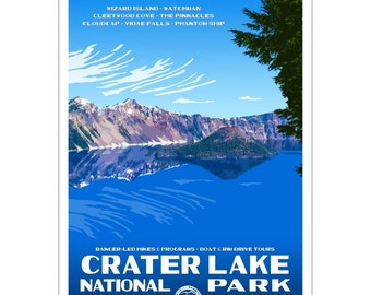 "Crater Lake National Park WPA-style poster. Color. 13"" x 19""  Original artwork, signed by the artist!"