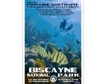 """Biscayne National Park WPA style poster. 13"""" x 19"""" Original artwork, signed by the artist. Free Shipping !"""