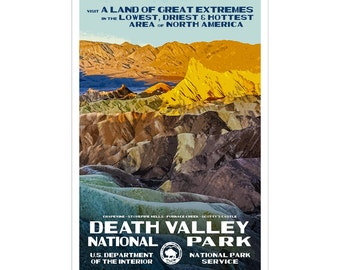 """Death Valley National Park Poster, WPA style 13"""" x 19"""" Signed by the artist. Color. FREE SHIPPING!"""