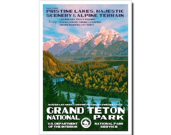 """Grand Teton National Park Poster, WPA style 13"""" x 19"""" Signed by the artist. FREE SHIPPING!"""