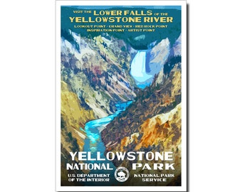 """Yellowstone National Park Poster, WPA style, 13"""" x 19"""" Signed by the artist. FREE SHIPPING!"""