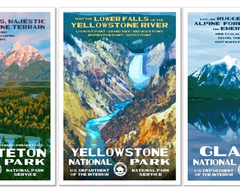 Get 3 National Park Posters - Grand Teton, Yellowstone, Glacier -30 Bucks, Free Shipping