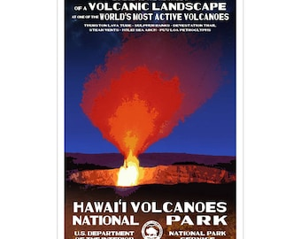 """Hawaii Volcanoes National Park WPA-style poster. Color. 13"""" x 19""""  Original artwork, signed by the artist!"""
