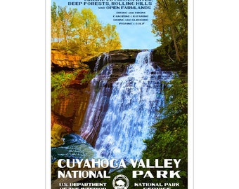"Cuyahoga Valley National Park WPA-style poster. Color. 13"" x 19""  Original artwork, signed by the artist!"