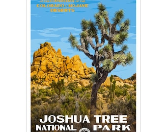 "Joshua Tree National Park  WPA-style poster. Color. 13"" x 19""  Original artwork, signed by the artist!"