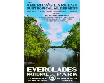 """Everglades National Park WPA style poster. 13"""" x 19"""" Original artwork, signed by the artist. Free Shipping !"""