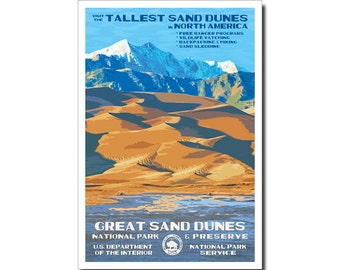 "Great Sand Dunes National Park WPA style poster. 13"" x 19"" Original artwork, signed by the artist. FREE SHIPPING!"