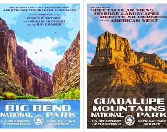 """Texas National Parks -- Big Bend & Guadalupe Mountains -- WPA style poster. 13"""" x 19"""" Original artwork, signed by the artist. FREE SHIPPING!"""
