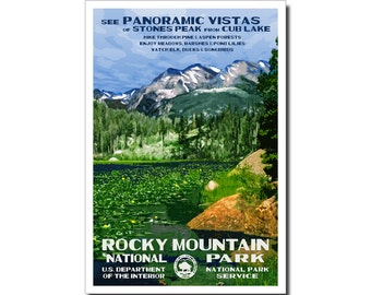 "Rocky Mountain (Cub Lake) National Park Poster, WPA style 13"" x 19"" Signed by the artist. FREE SHIPPING!"
