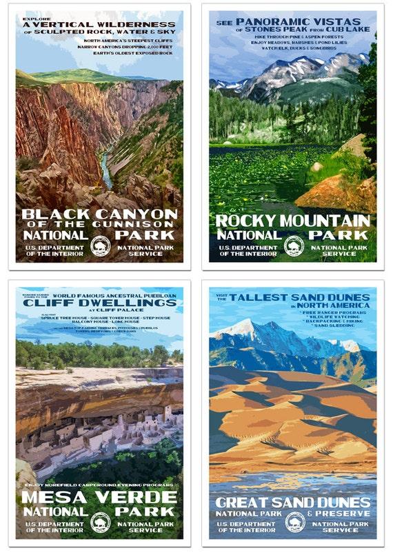 The National Parks of Colorado Set of 4 NationalPa rk