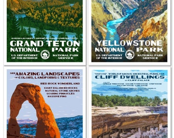 Set of 4 National Park Posters -- Grant Teton, Yellowstone, Arches & Mesa Verde National Park -- Signed by the Artist!