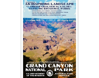 """Grand Canyon National Park WPA style poster. 13"""" x 19"""" Original artwork, signed by the artist. Free Shipping !"""