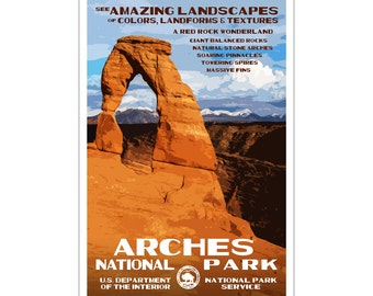 "Arches National Park WPA style poster. 13"" x 19"" Original artwork, signed by the artist. FREE SHIPPING!"