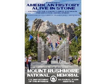 "Mount Rushmore National Memorial WPA-style poster. Color. 13"" x 19""  Original artwork, signed by the artist!"