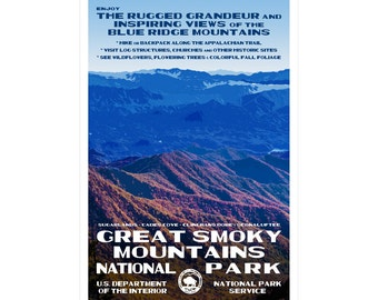 "Great Smoky Mountains WPA-style poster. Color. 13"" x 19""  Original artwork, signed by the artist!"