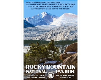 """Rocky Mountain (Longs Peak) National Park Poster, WPA style 13"""" x 19"""" Signed by the artist. FREE SHIPPING!"""