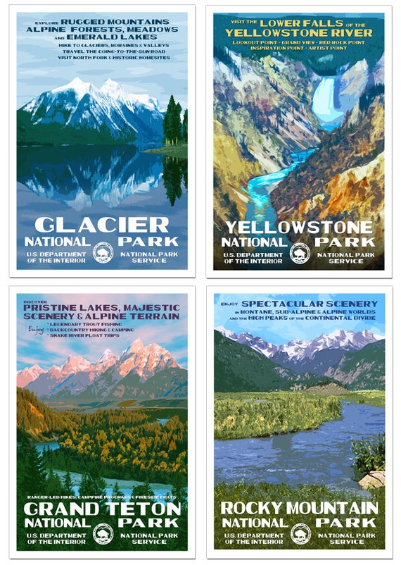 Rocky Mountain Collection Set Of 4 National Park Posters Etsy